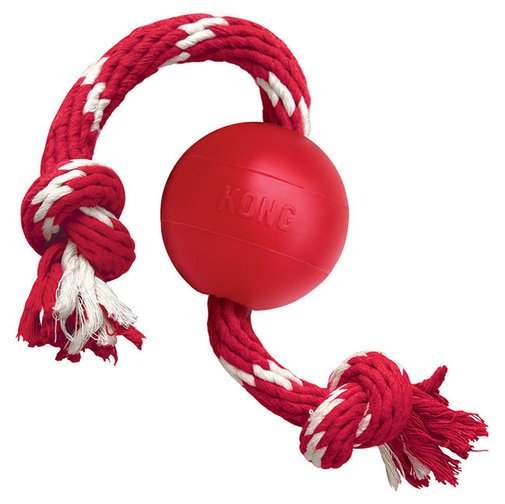 View larger image of KONG Ball with Rope Dog Toy